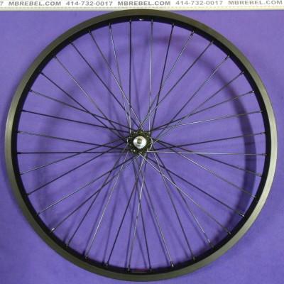 Black 26 X 2.125 31.5mm Wide Rim 12 Gauge Spoke Front Wheel Black Spokes