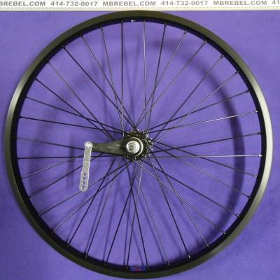 Black 26 X 2.125 31.5mm Wide Rim 12 Gauge Spoke Rear KT Coaster Wheel Black Spokes