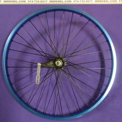 Blue Anodized 26 X 2.125 31.5mm Wide Rim 12 Gauge Spoke Rear KT Coaster Wheel Black Spokes