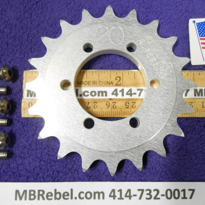 DISC HUB MOUNT 20 TOOTH SPROCKET U.S.A.