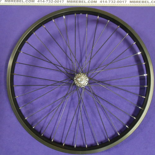 Alloy Double Wall 12G Black SS 26 X 2.125 38mm Wide Front Wheel Assembled in U.S.A.