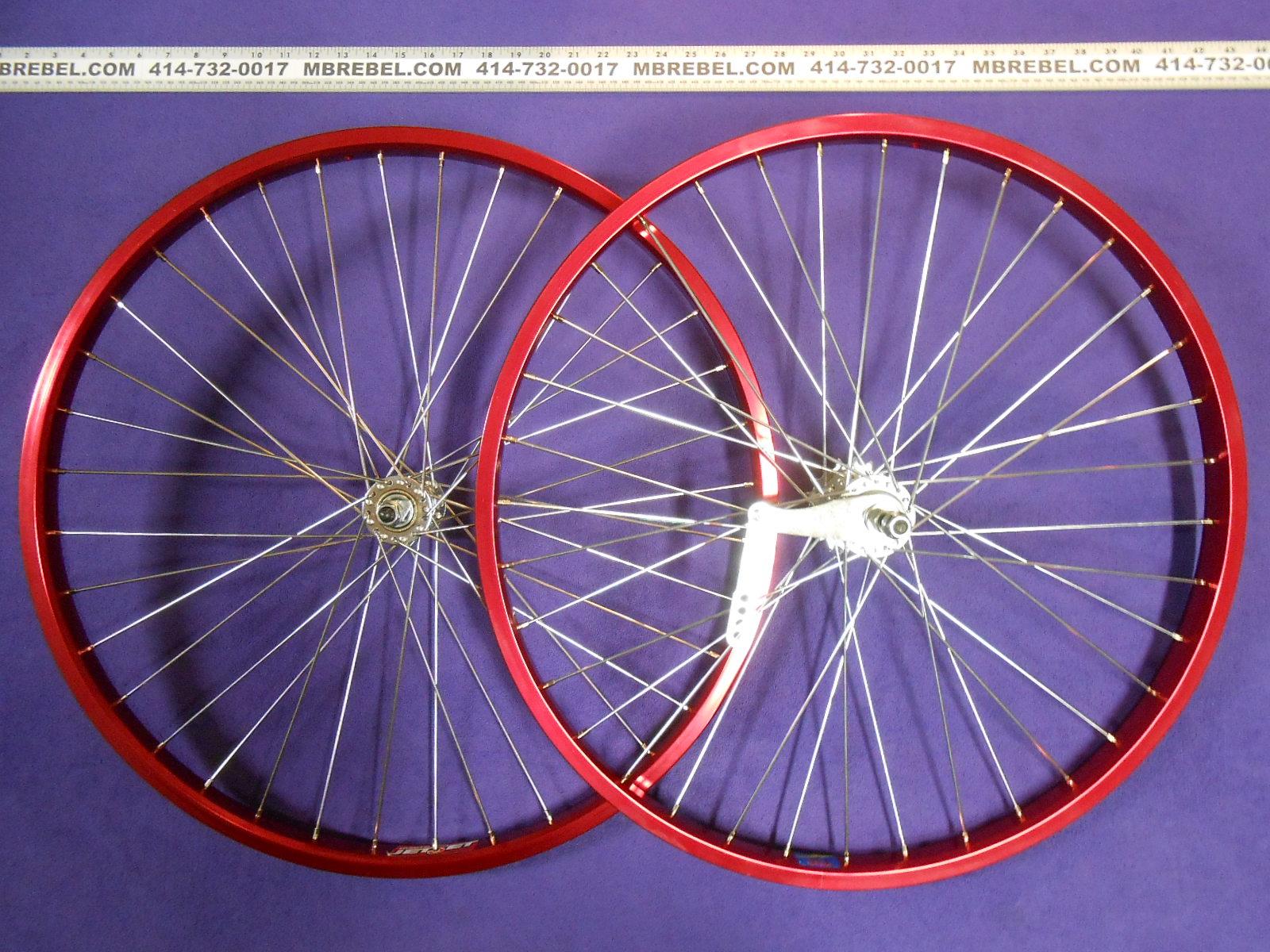 "BICYCLE HEAVY DUTY STEEL WHEEL SET 26/"" X 2.125 CHROME 12G SPOKES CRUISER NEW!"