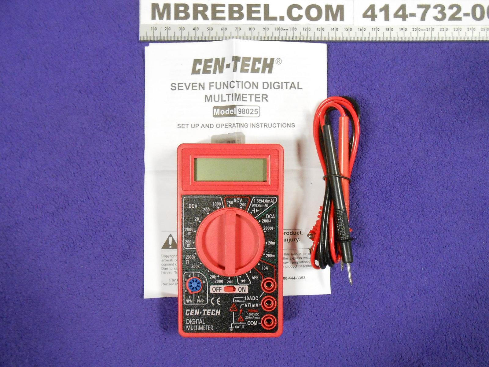 Cen tech Digital Multimeter 92020 Manual