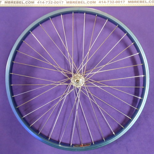 Blue Anodized 26 X 2.125 31.5mm Wide Rim 12 Gauge Spoke Front Wheel Silver Spokes MBRebel.com