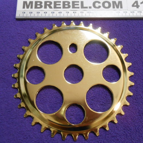 Gold Lucky 7 36 Tooth Pedal Sprocket Chainring 36T MBRebel (1)